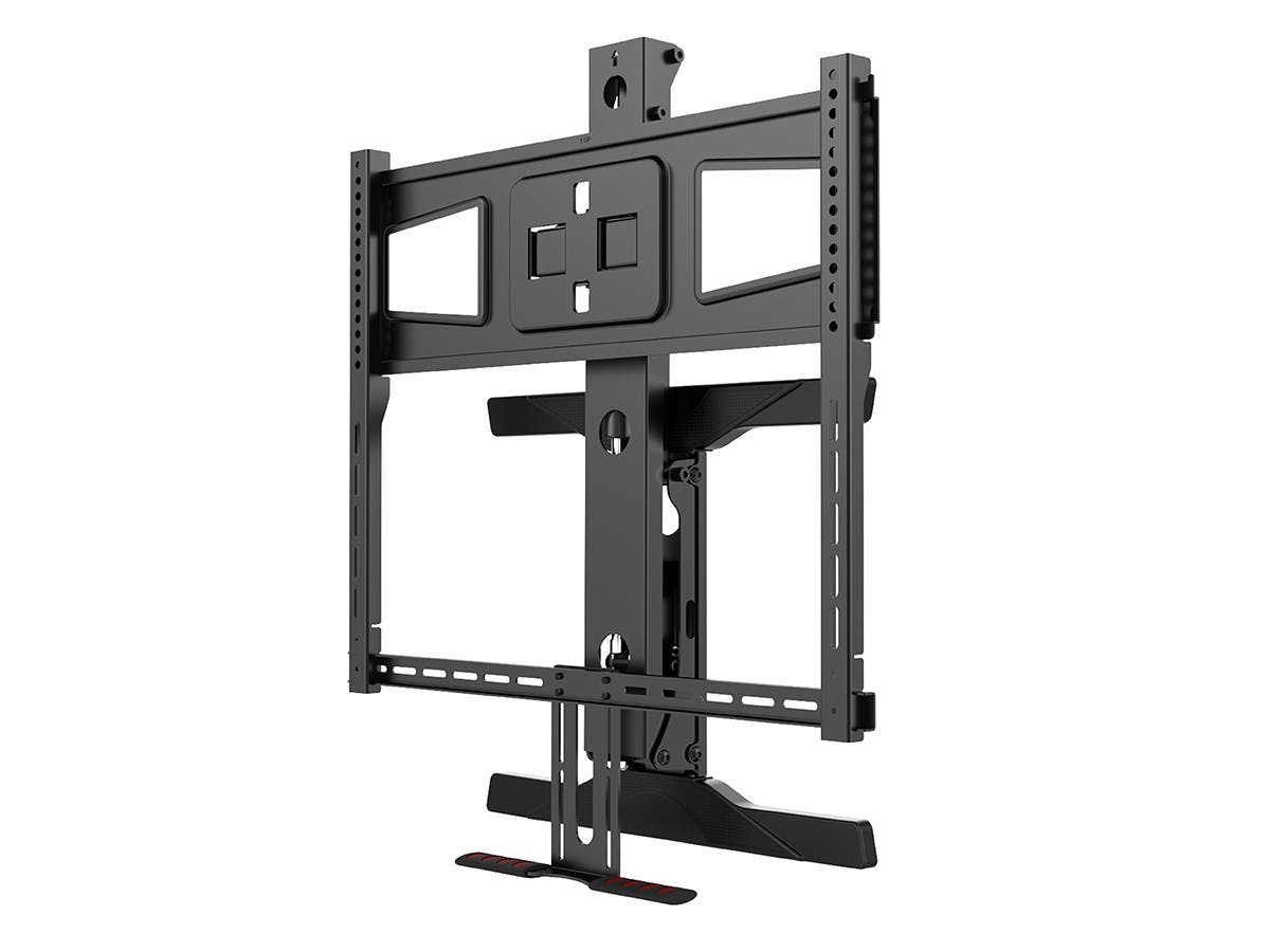 monoprice above fireplace pull down full motion articulating tv wall mount bracket for tvs. Black Bedroom Furniture Sets. Home Design Ideas