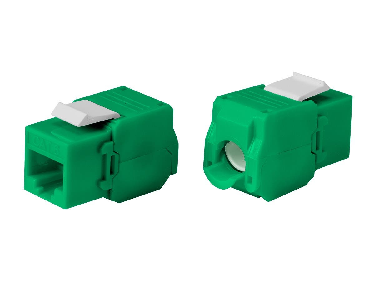 Monoprice Cat6 RJ-45 Toolless 180-Degree Keystone, Green-Large-Image-1