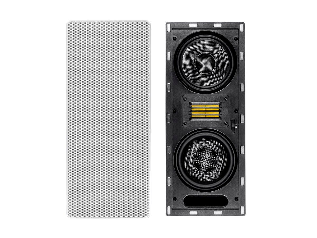 Monoprice Amber In-Wall Speaker 6.5-inch 3-way Carbon Fiber Column with Ribbon Tweeter (each)-Large-Image-1