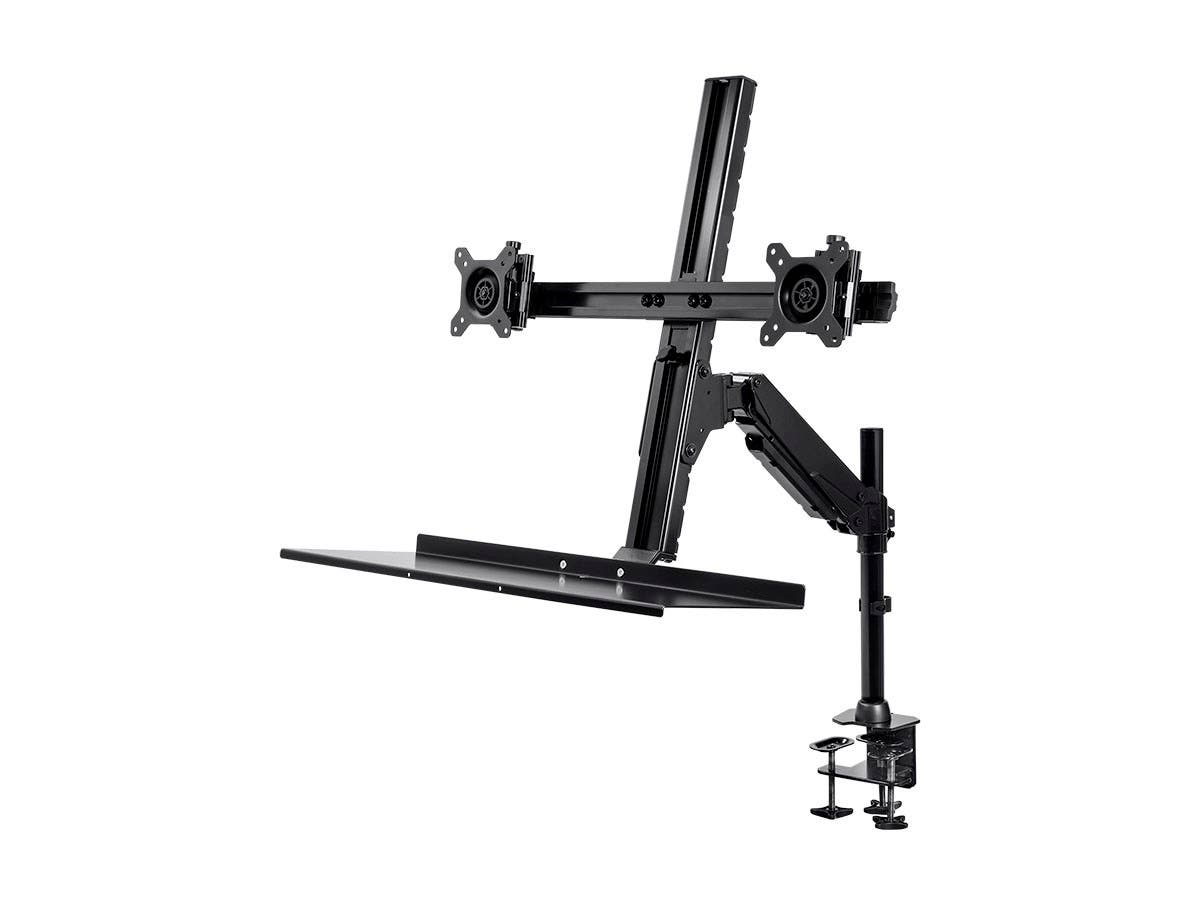 Height-Adjustable Sit-Stand Dual Monitor and Keyboard Mount