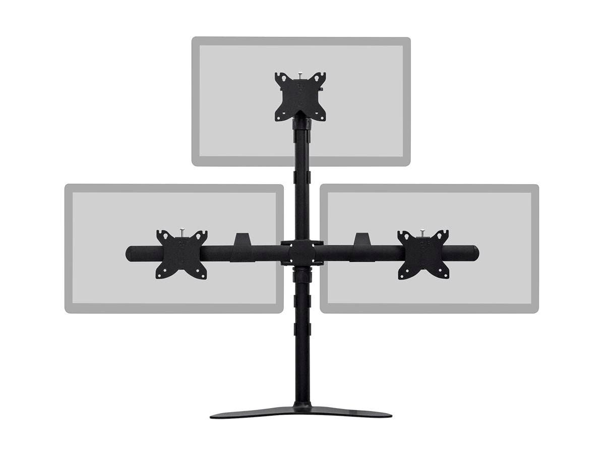 triple monitor pyramid free standing desk mount for 1530in monitors