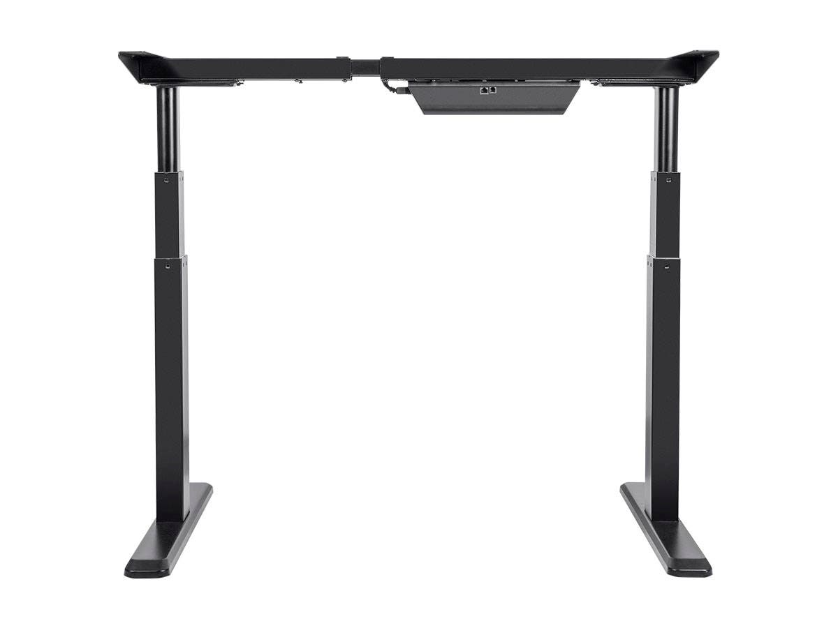 workstream by monoprice sit stand dual motor height adjustable table desk frame electric black. Black Bedroom Furniture Sets. Home Design Ideas
