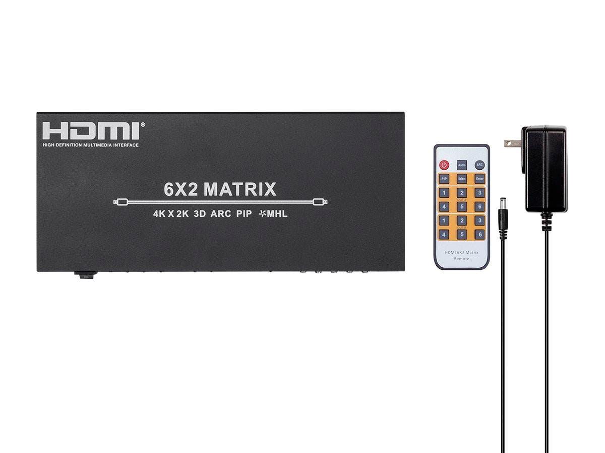 6x2 HDMI Matrix Switch Splitter 4K 1080p 3D MHL HDCP 3.5mm TOSLINK w// IR Remote