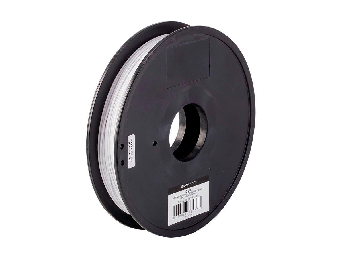 Monoprice MP Select PLA Plus+ Premium 3D Filament 1.75mm 0.5kg/spool, White-Large-Image-1