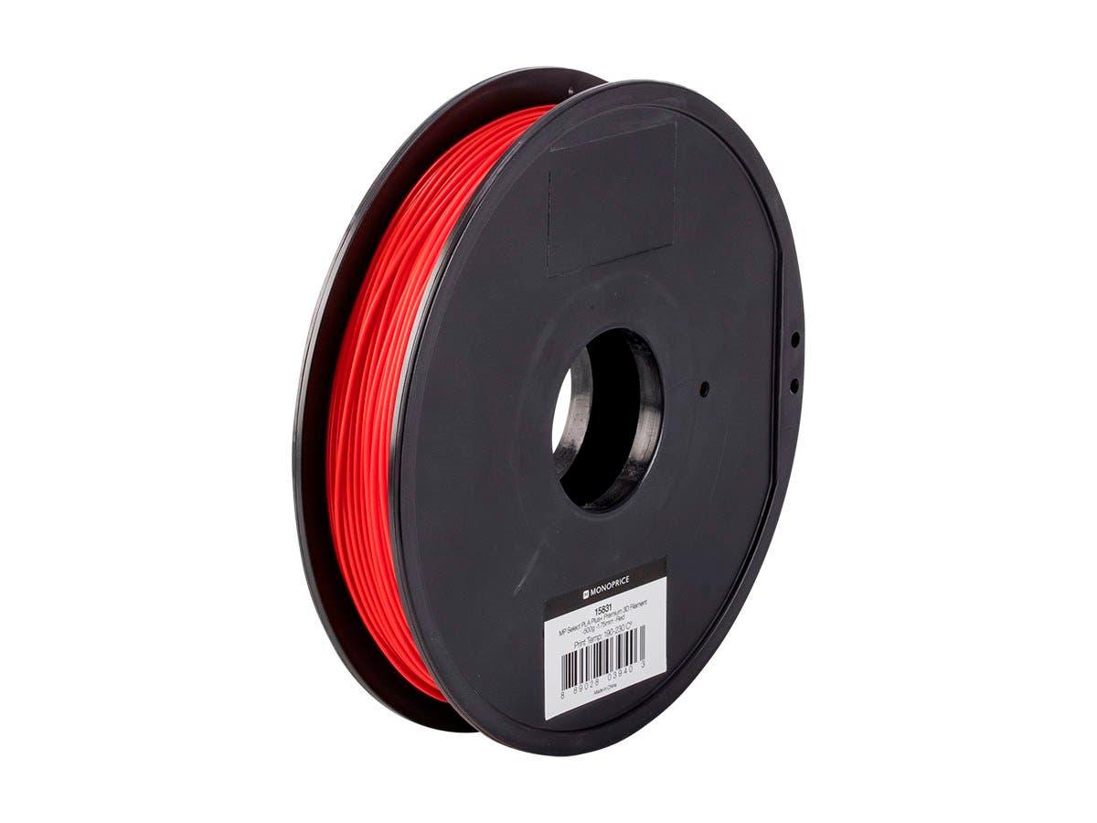 Monoprice MP Select PLA Plus+ Premium 3D Filament 1.75mm 0.5kg/spool, Red-Large-Image-1