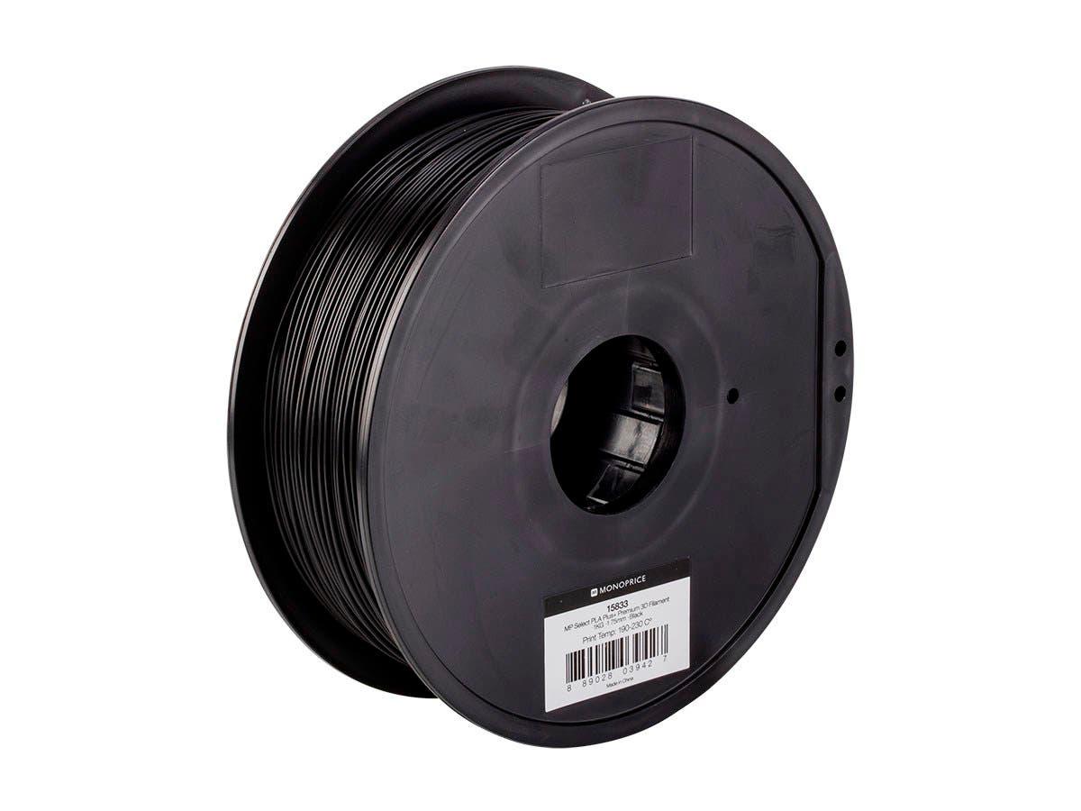 Monoprice MP Select PLA Plus+ Premium 3D Filament 1.75mm 1kg/spool, Black - main image