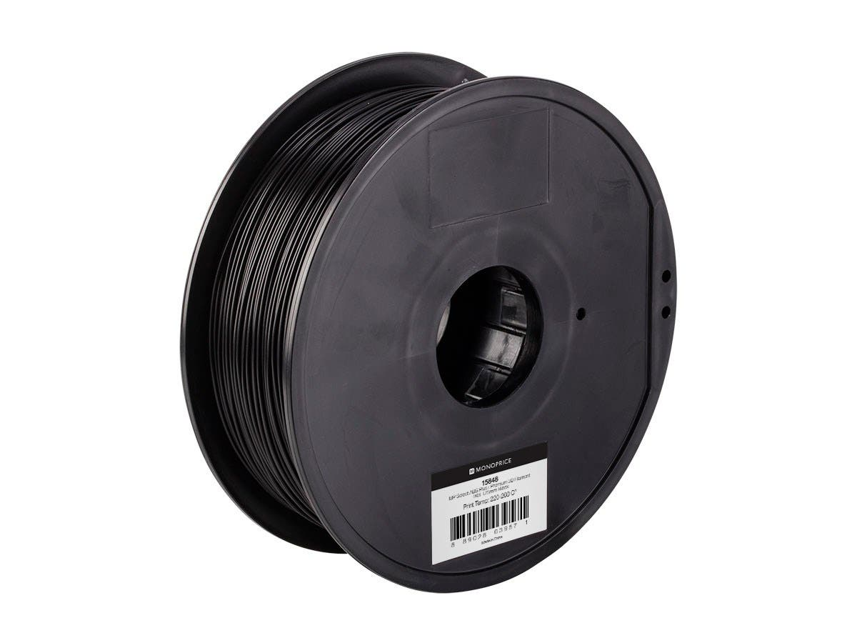 Monoprice MP Select ABS Plus+ Premium 3D Filament, 1kg 1.75mm, Black-Large-Image-1