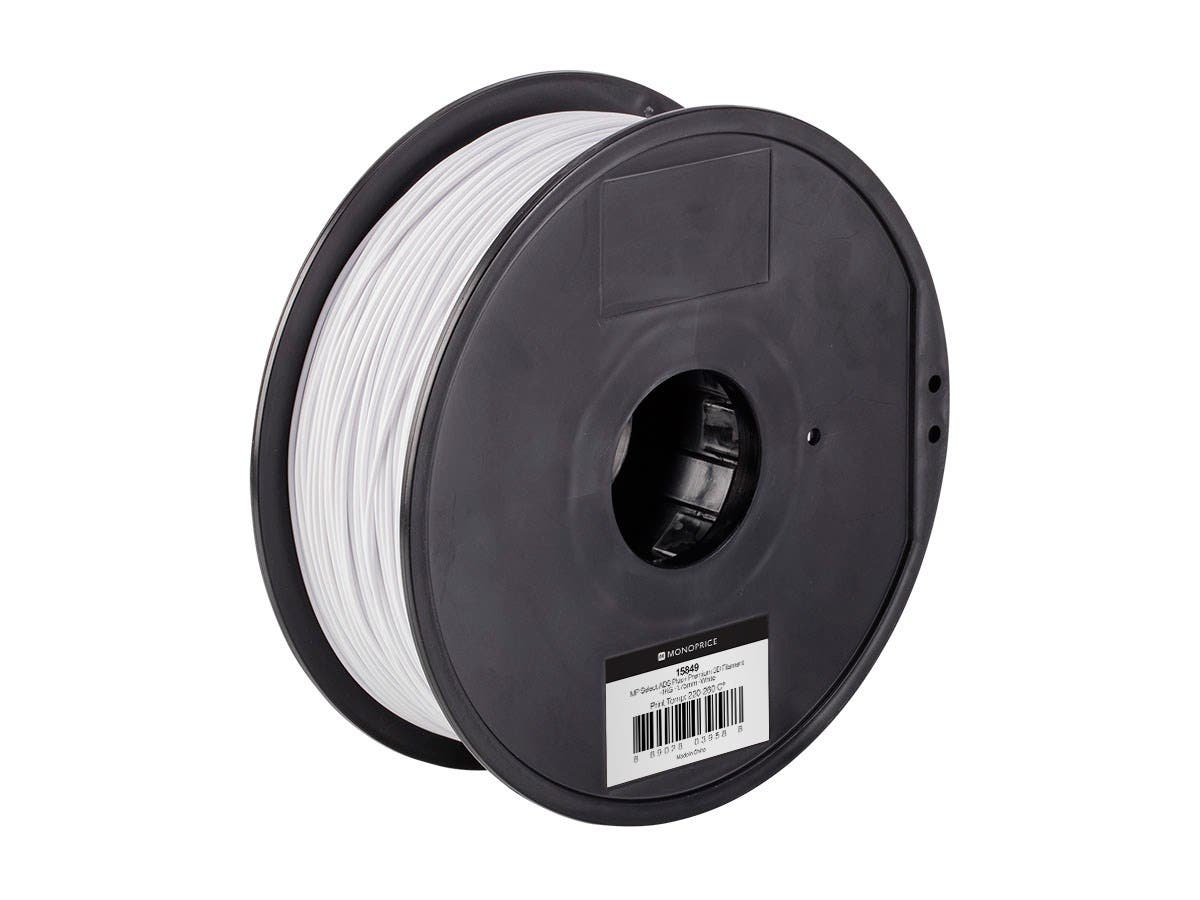 Monoprice MP Select ABS Plus+ Premium 3D Filament, 1kg 1.75mm, White-Large-Image-1