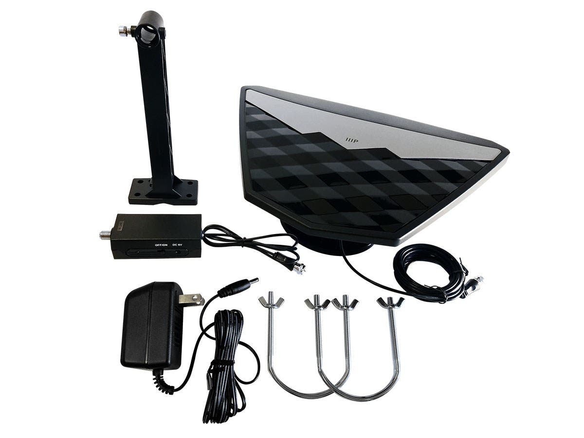 Monoprice Active Indoor Outdoor Hd6 Hdtv Antenna 50 Mile Range Aerials Satellite Digital Wide Band Tv Aerial Plus Wiring Large Image