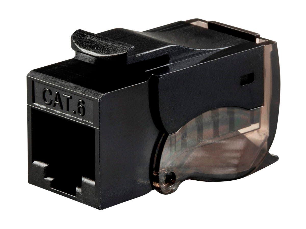 Monoprice Cat6 RJ-45 Toolless Push Lever 90-Degree Keystone, Black-Large-Image-1