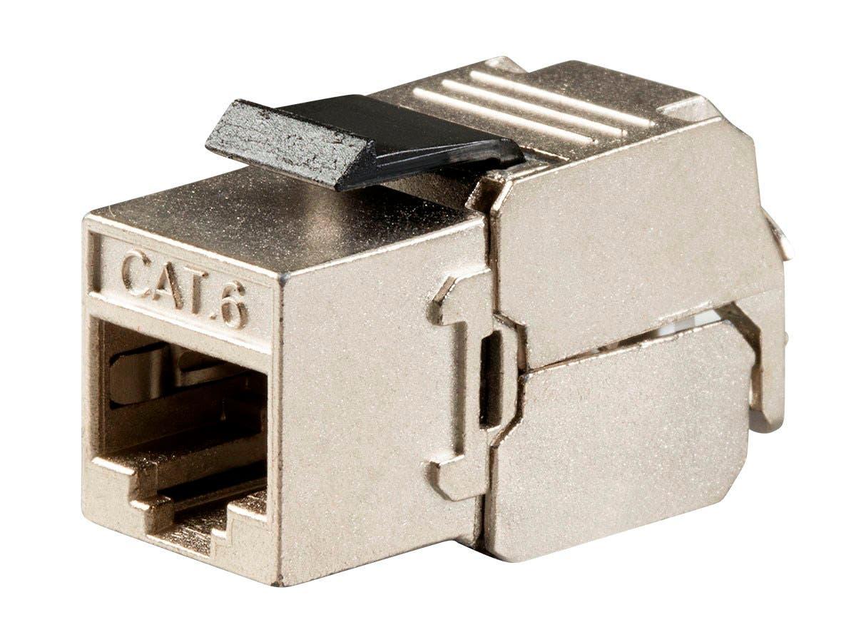 Entegrade Series Cat6 RJ-45 FTP Toolless 180-Degree Slim Style Keystone Jack, Black