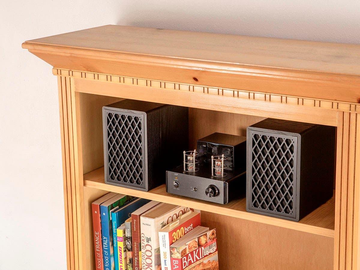 Monoprice Retro Bookshelf Speakers 4 Inch 2 Way Black Pair