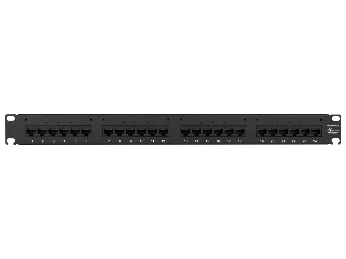 Monoprice Cat6 UTP 19-inch 1U Patch Panel, 24-port-Large-Image-1