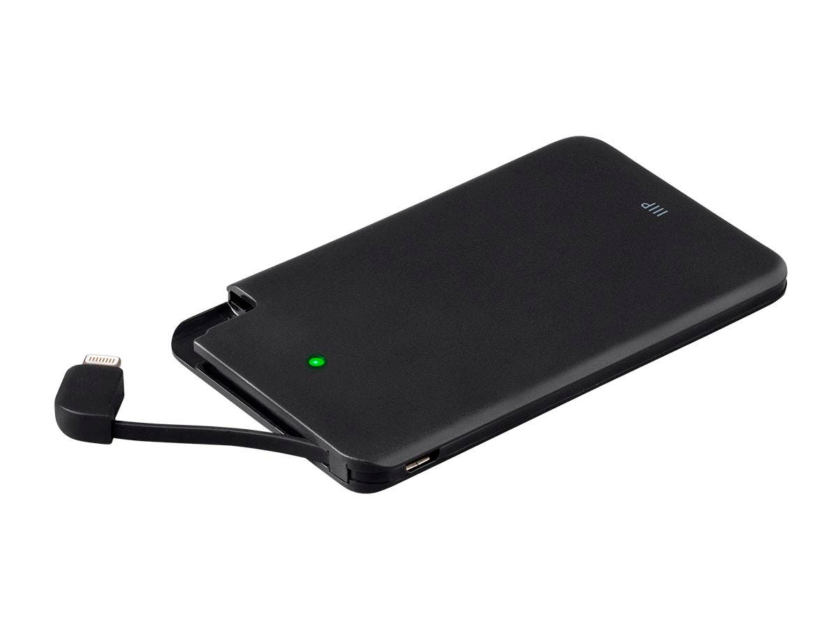 Emergency Series Portable Cell Phone Charger with Apple MFi Certified Lightning, 2500mAh Power Bank, Black