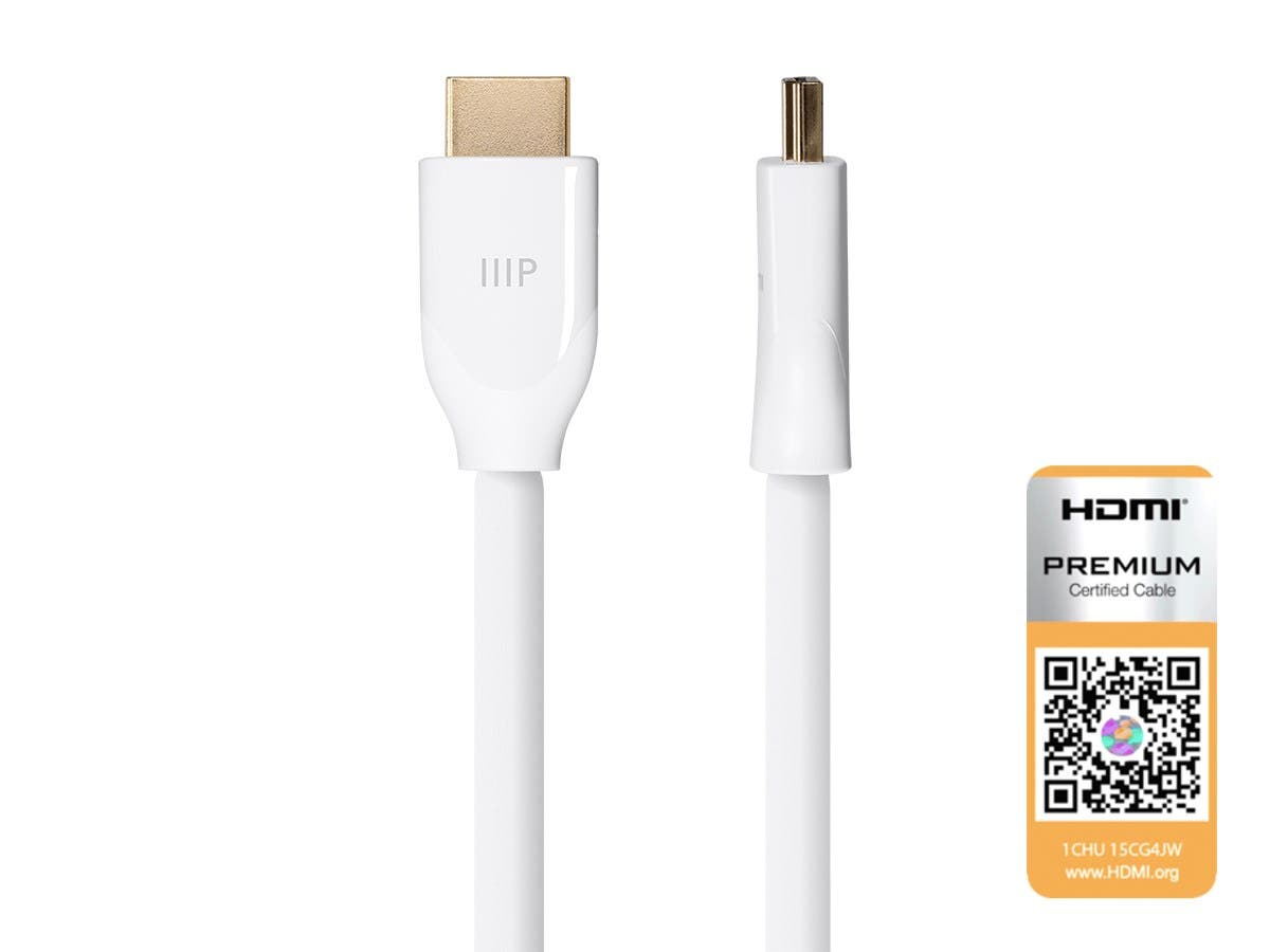 Monoprice Certified Premium High Speed HDMI Cable, 4K@60Hz, HDR, 18Gbps, 28AWG, YUV 4:4:4, 3ft, White-Large-Image-1
