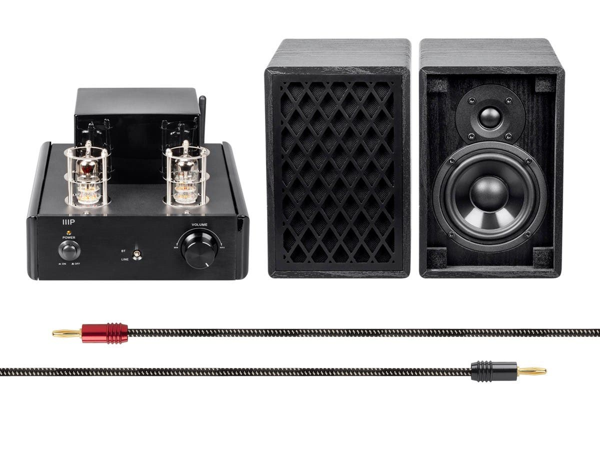Tube Amp System with Bluetooth 15-watt Compact Stereo Hybrid with Retro Speakers