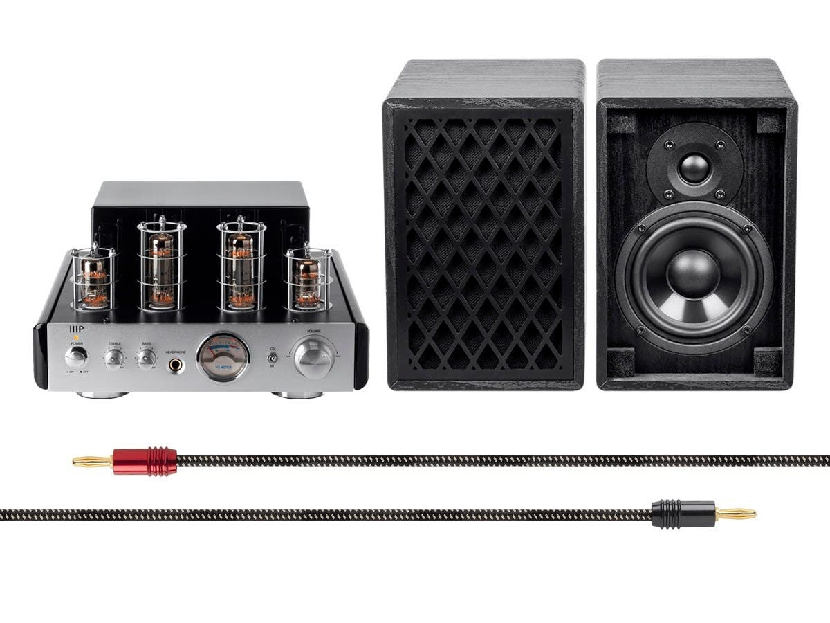 Monoprice 25 Watt Stereo Hybrid Tube Amplifier With Bluetooth And Retro Speakers Bundle Large