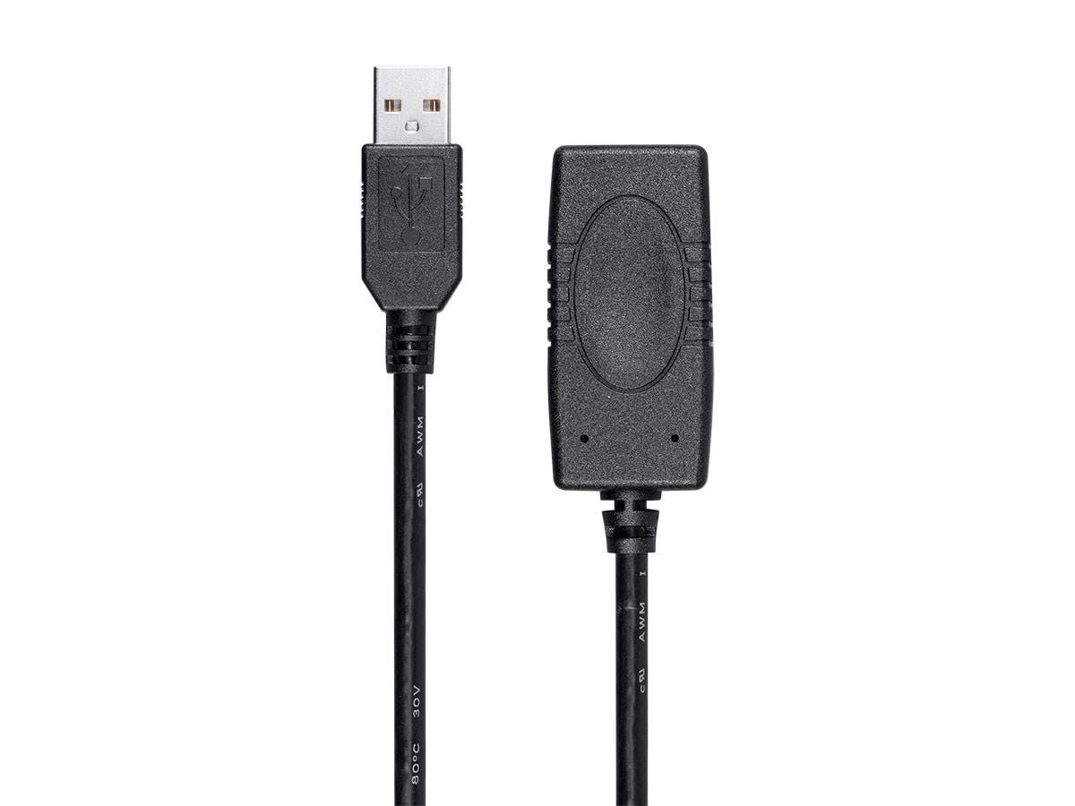 SlimRun USB-A to USB-A Female 2.0 Extension Cable - Active, Black, 32ft-Large-Image-1