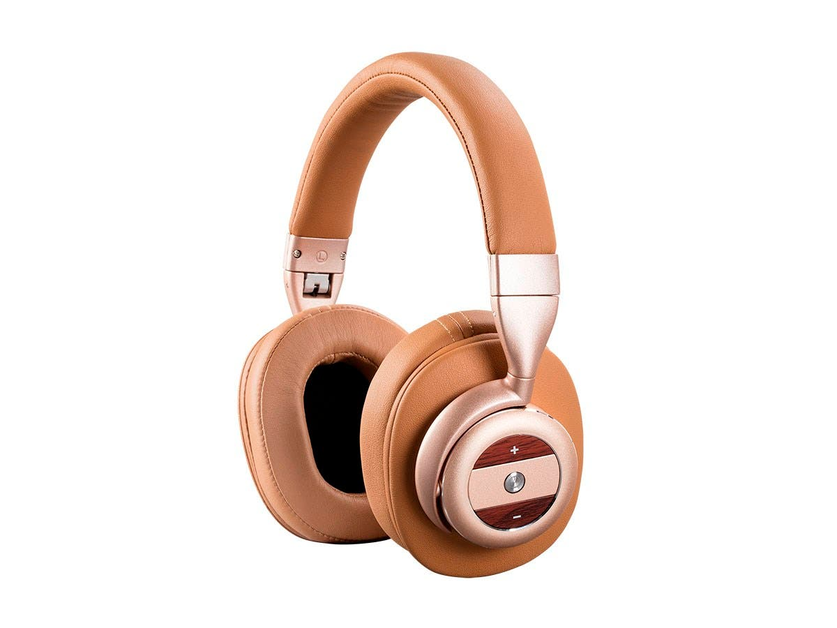 Monoprice SonicSolace Active Noise Cancelling Bluetooth Wireless Headphones, Champagne with Tan Over Ear Headphones-Large-Image-1