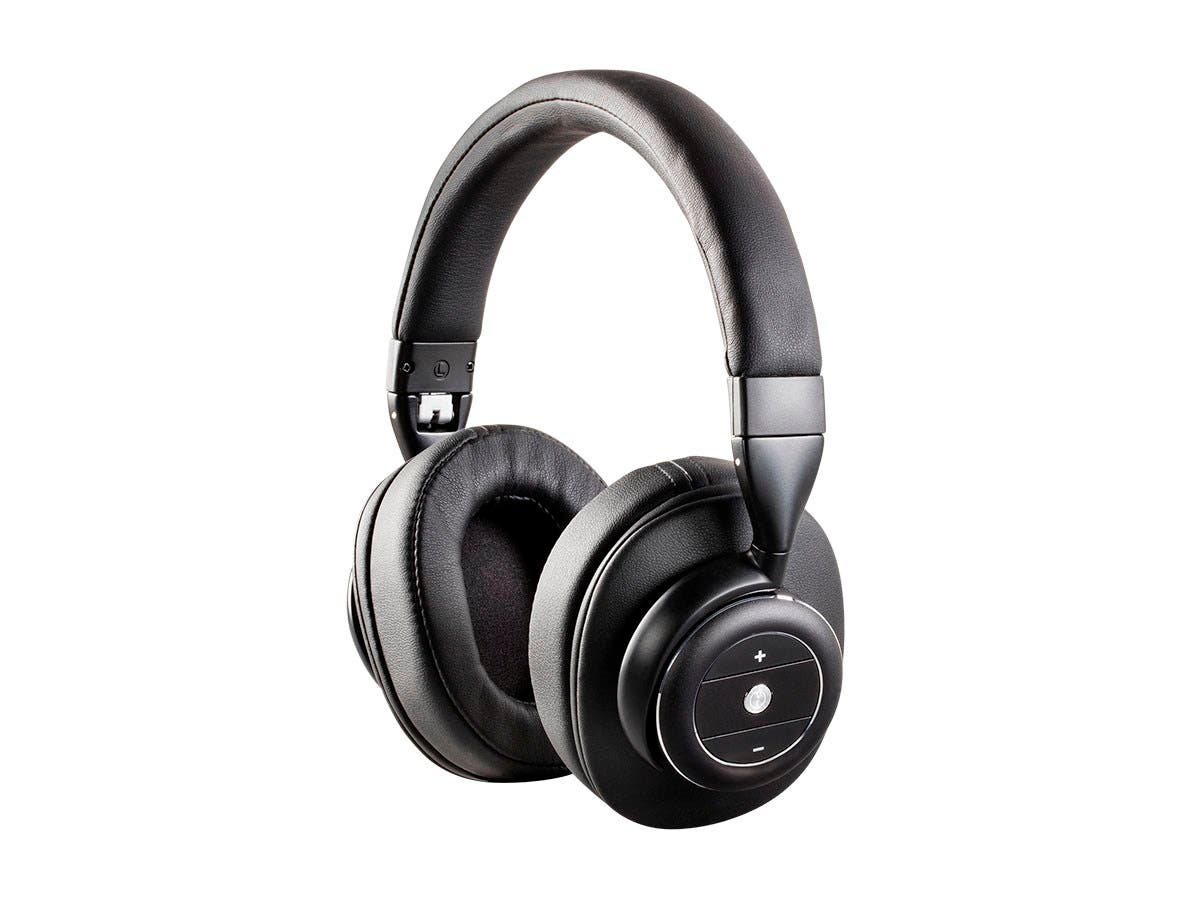 Monoprice SonicSolace Active Noise Cancelling Bluetooth Wireless Headphones, Black Over Ear Headphones-Large-Image-1