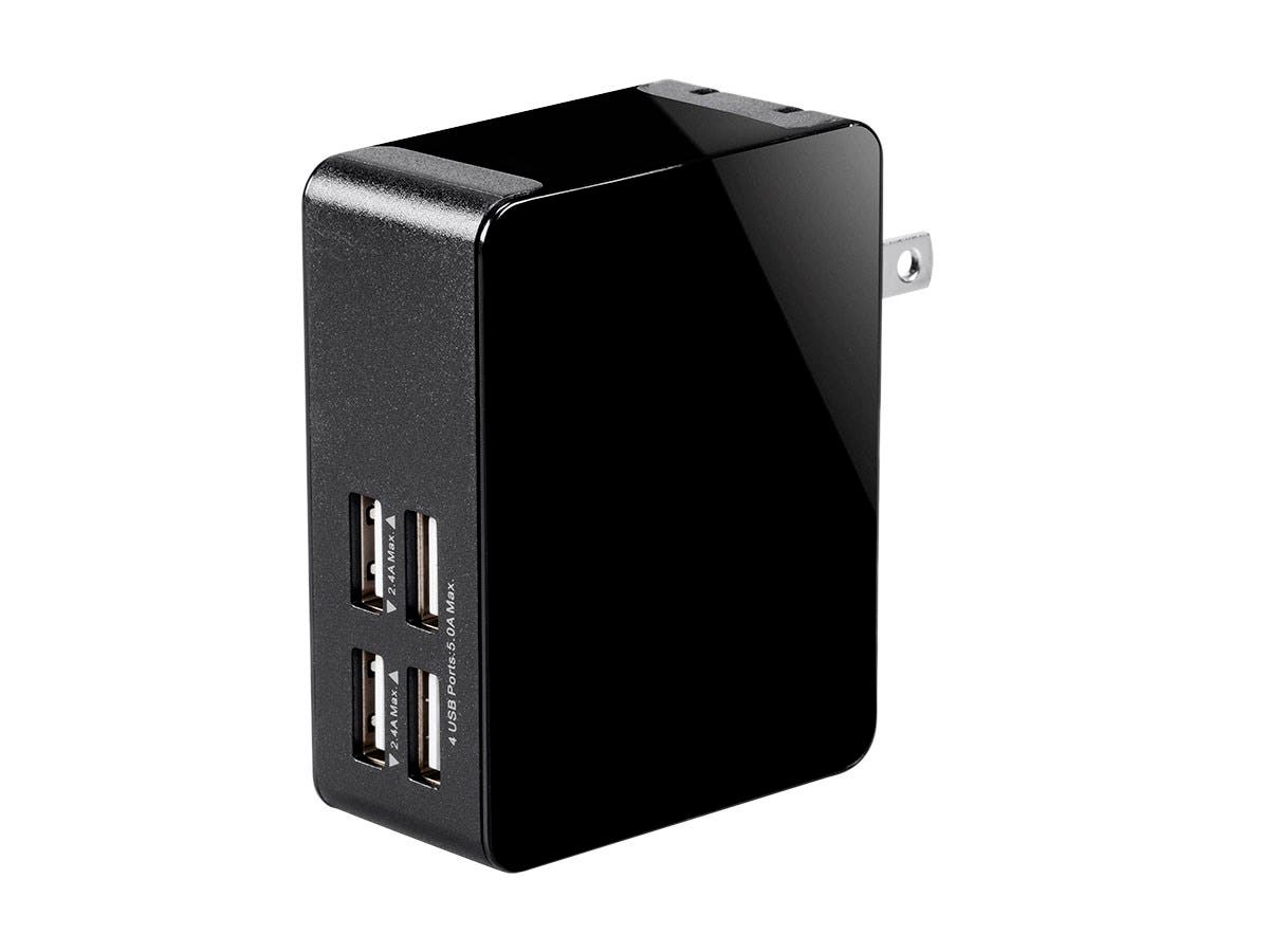 Monoprice Obsidian Plus USB Wall Charger, 4-Port, 5A Output for iPhone, Android, and Galaxy Devices-Large-Image-1