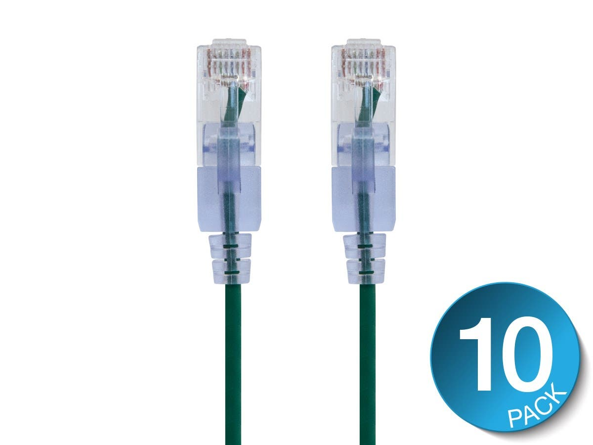 Monoprice SlimRun Cat6A Ethernet Patch Cable - Snagless RJ45, 550Mhz, UTP, Pure Bare Copper Wire, 10G, 30AWG , 3ft, Green, 10-Pack-Large-Image-1