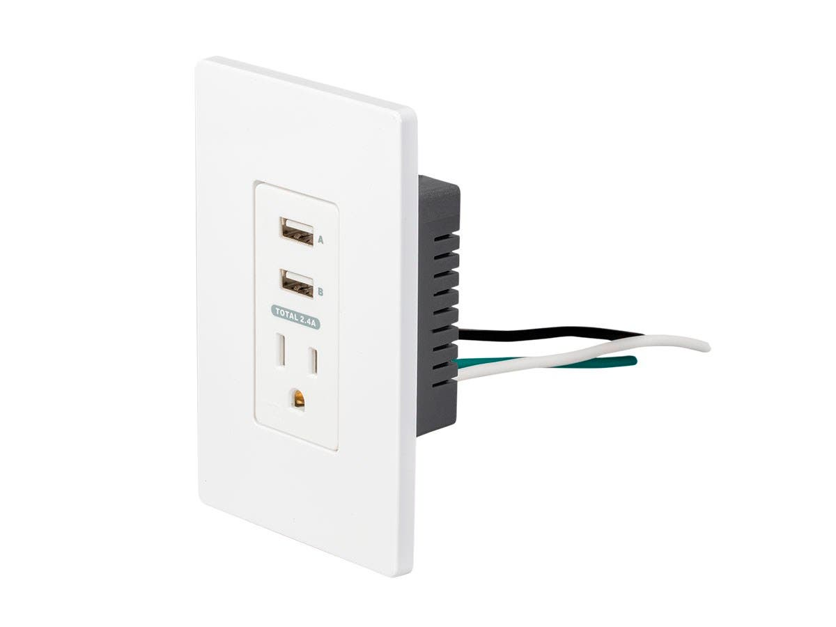 Monoprice 2 USB + 1 Outlet In-Wall Charger-Large-Image-1
