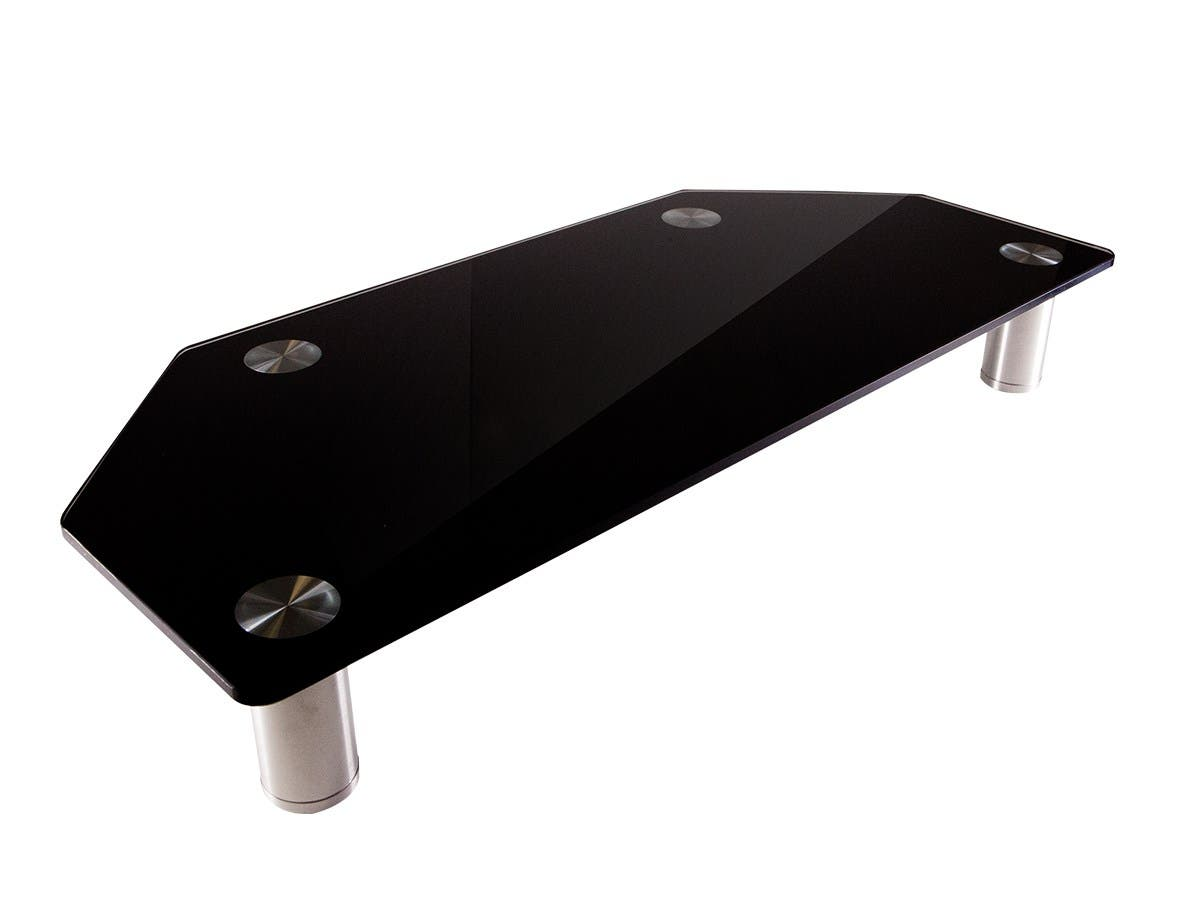 Corner Multimedia Desktop Monitor Stand, Black Glass