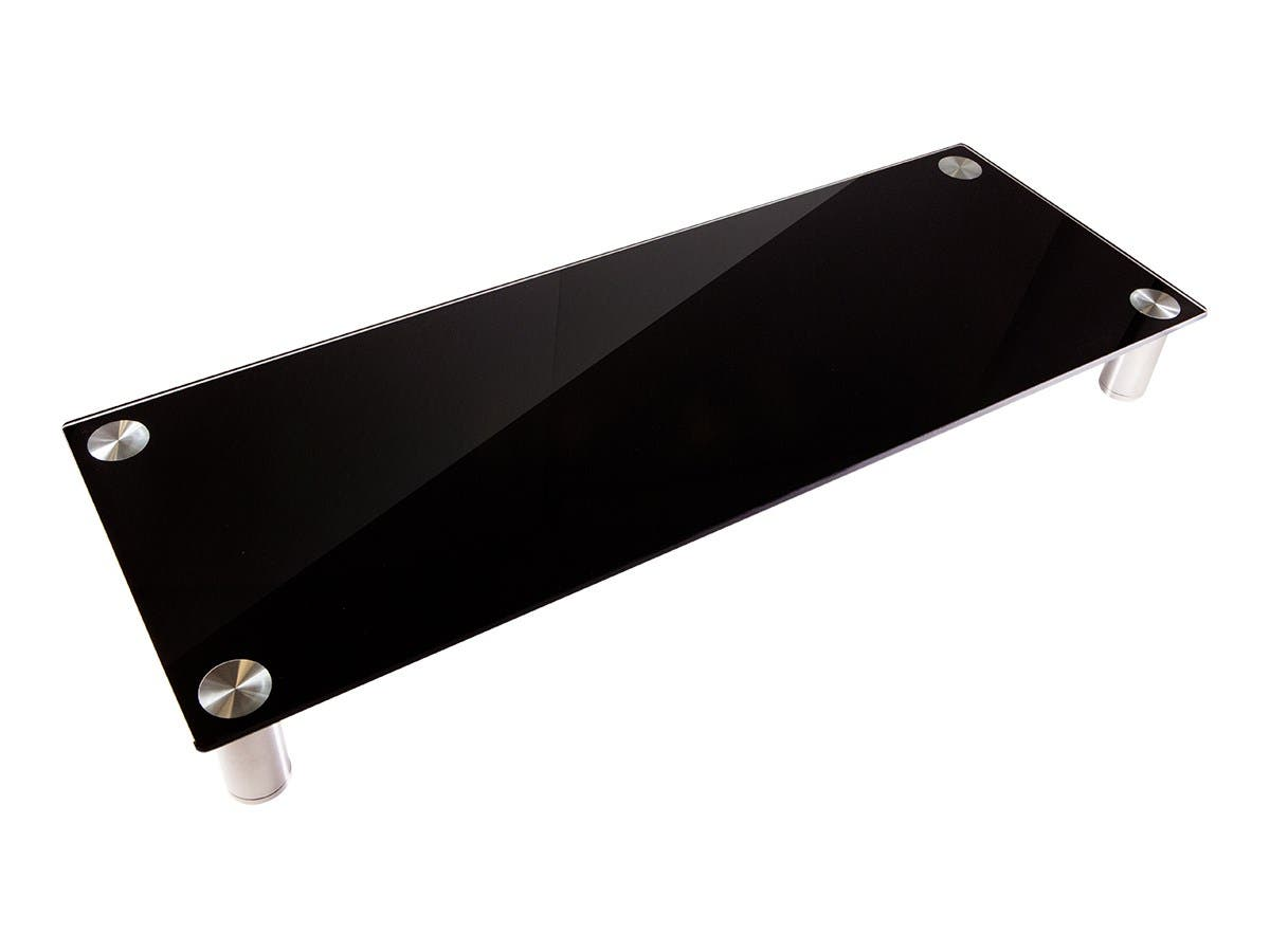 Large Multimedia Desktop Monitor Stand, Black Glass
