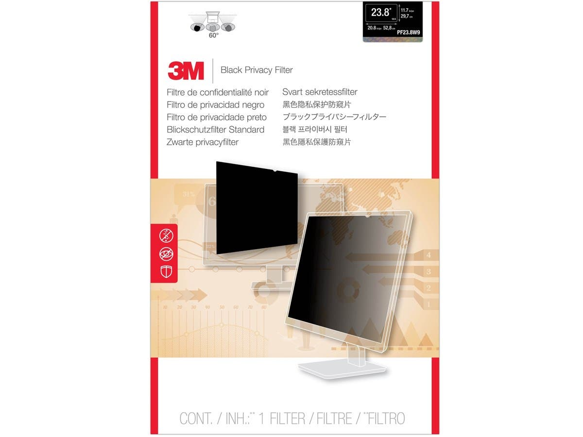 "3M PF23.8W9 Privacy Filter for Widescreen Desktop LCD Monitor 23.8"" - For 23.8""Monitor-Large-Image-1"