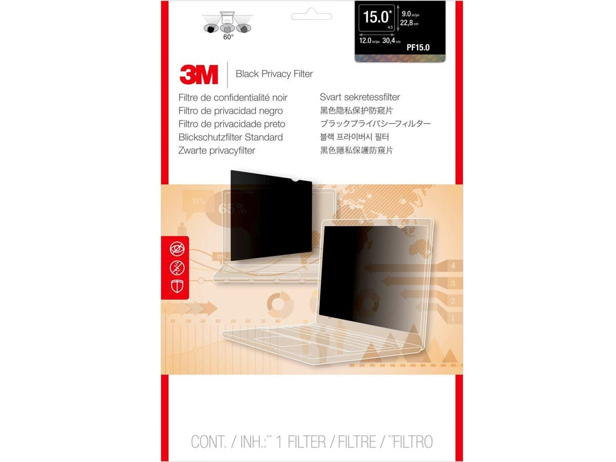 """3M Privacy Screen Filter Black - For 15""""Notebook-Large-Image-1"""
