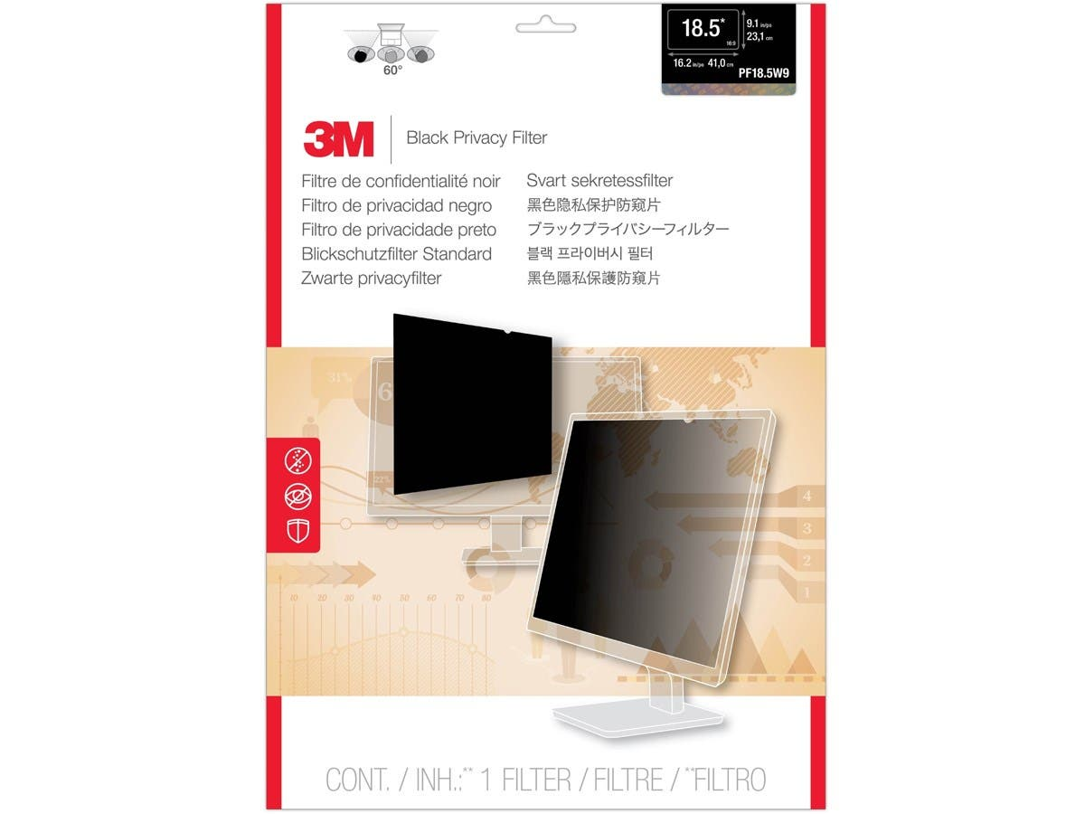 "3M PF18.5W9 Privacy Filter for Widescreen Desktop LCD Monitor 18.5"" - For 18.5""Monitor-Large-Image-1"