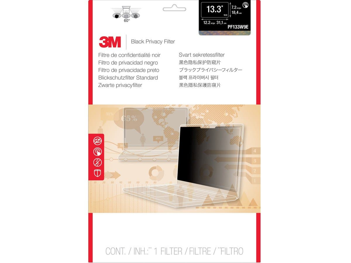 "3M PF133W9E Privacy Filter for Edge-to-Edge 13.3"" Widescreen Laptop - For 13.3""Notebook-Large-Image-1"