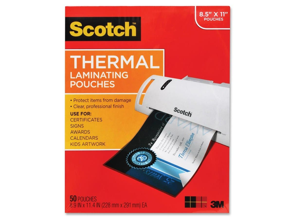 """Scotch Thermal Laminating Pouch - Sheet Size Supported: Letter 8.50"""" Width x 11"""" Length - Laminating Pouch/Sheet Size: 9"""" Width x 11.50"""" Length - for Photo, Document - Clear - 50 / pk-Large-Image-1"""