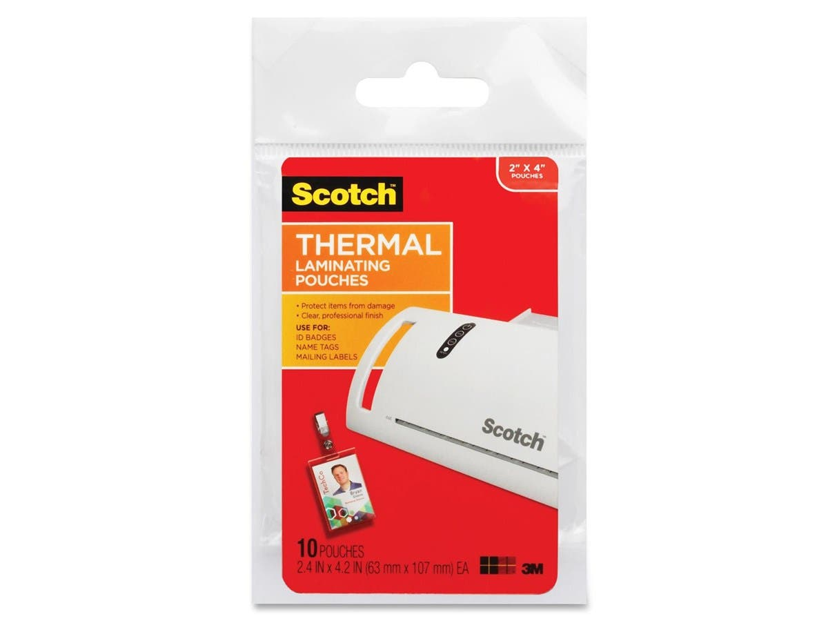 "Scotch Thermal Laminating Pouch - Laminating Pouch/Sheet Size: 2.52"" Width x 4.25"" Length - for Photo, ID Badge, Document - Clear - 10 / Pack"