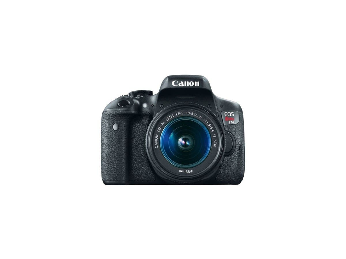 Canon EOS Rebel T6i 0591C003 Black 24.20 MP Digital SLR Camera with EF-S 18-55mm IS STM Lens-Large-Image-1