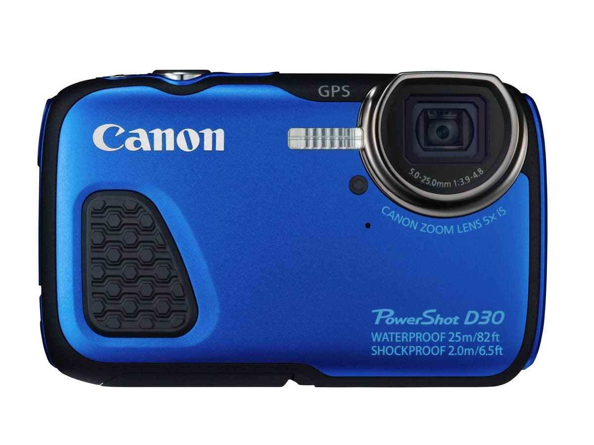 "Canon PowerShot D30 12.1 Megapixel Compact Camera - Blue - 3"" LCD - 16:9 - 5x Optical Zoom - 4x - Optical (IS) - 4000 x 3000 Image - 1920 x 1080 Video - HDMI - PictBridge - HD Movie Mode - GPS"