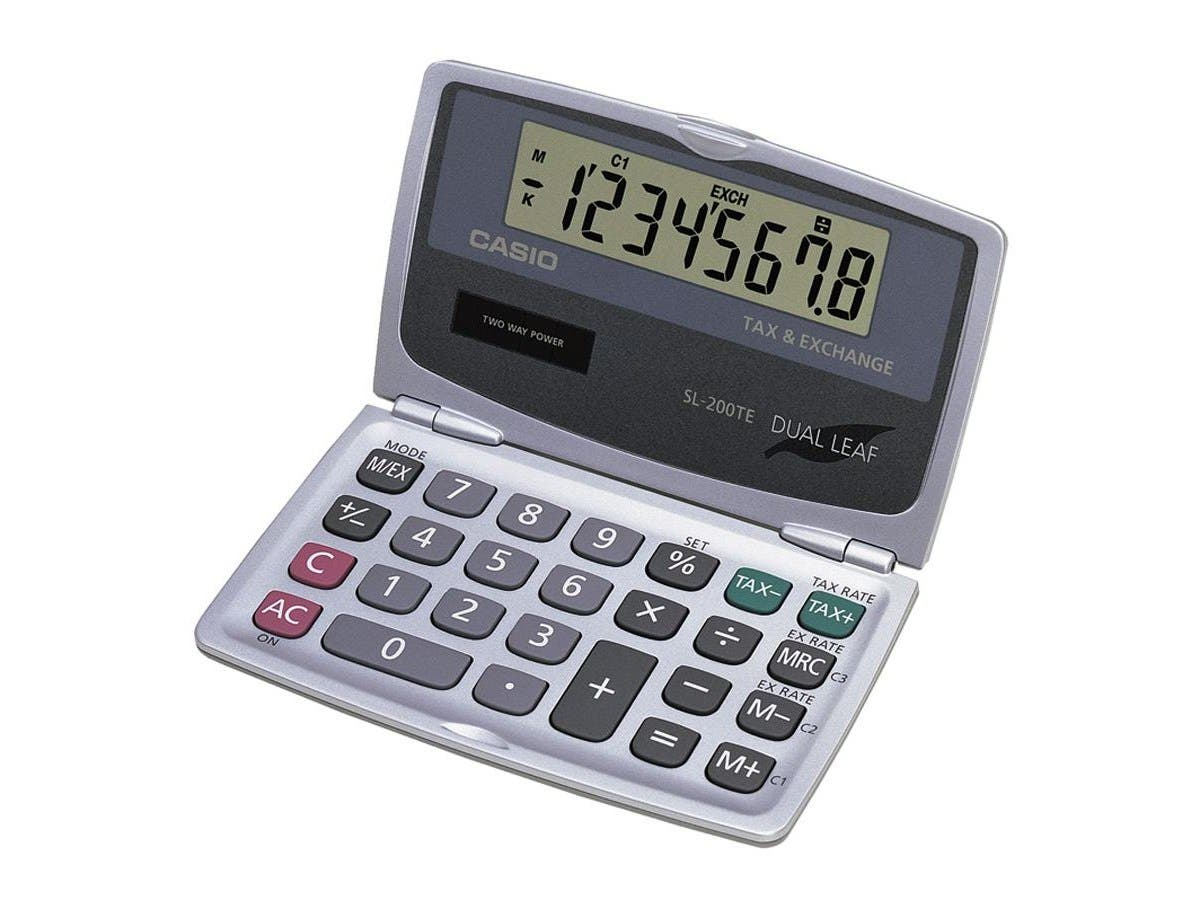 "Casio Handheld Foldable Pocket Calculator - 8 Digits - LCD - Battery/Solar Powered - 4.7"" x 0.3"" x 5.5"" - 1 Each"
