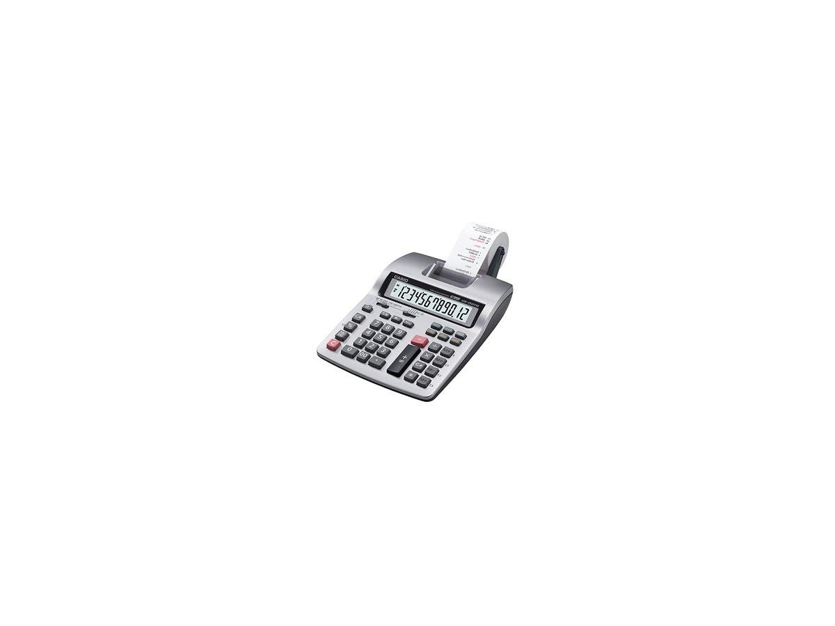 "Casio Printing Calculator - Dual Color Print - 2.4 lps - 12 Digits - LCD - Battery/Power Adapter Powered - 4 - AA - 2.3"" x 7.8"" x 10.8"""