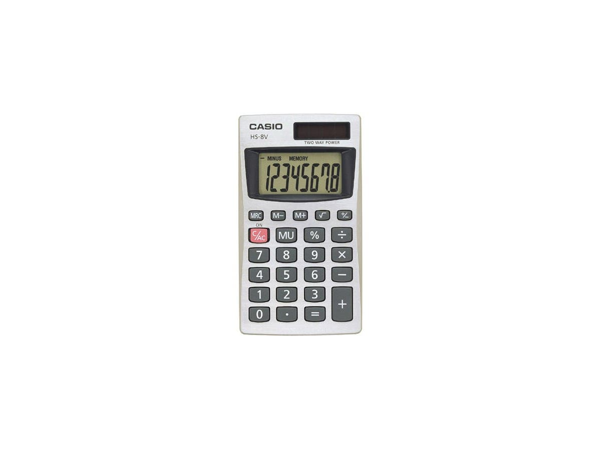 "Casio HS-8V Basic Calculator - Battery Backup, Easy-to-read Display, Big Display, Auto Power Off, Independent Memory, Non-stick Key - Battery/Solar Powered - 0.3"" x 2.3"" x 4"" - Silver"