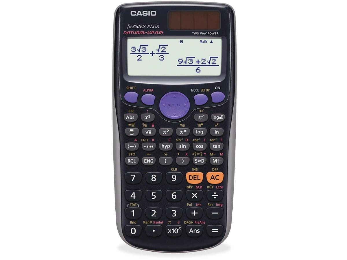 Casio fx-300ESPlus Scientific Calculator - 252 Functions - Hard Shell Cover - Black - 1 Each-Large-Image-1