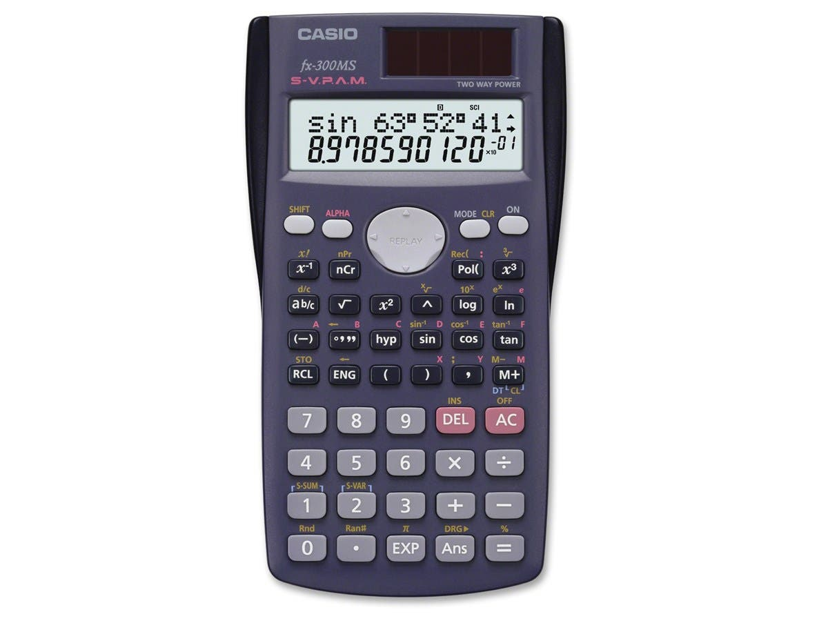 "Casio FX-300MS Scientific Calculator - 229 Functions - 7 KB - 2 Line(s) - 10 Digits - LCD - Battery/Solar Powered - 0.4"" x 2.9"" x 4.6"" - Black - 1 Each-Large-Image-1"