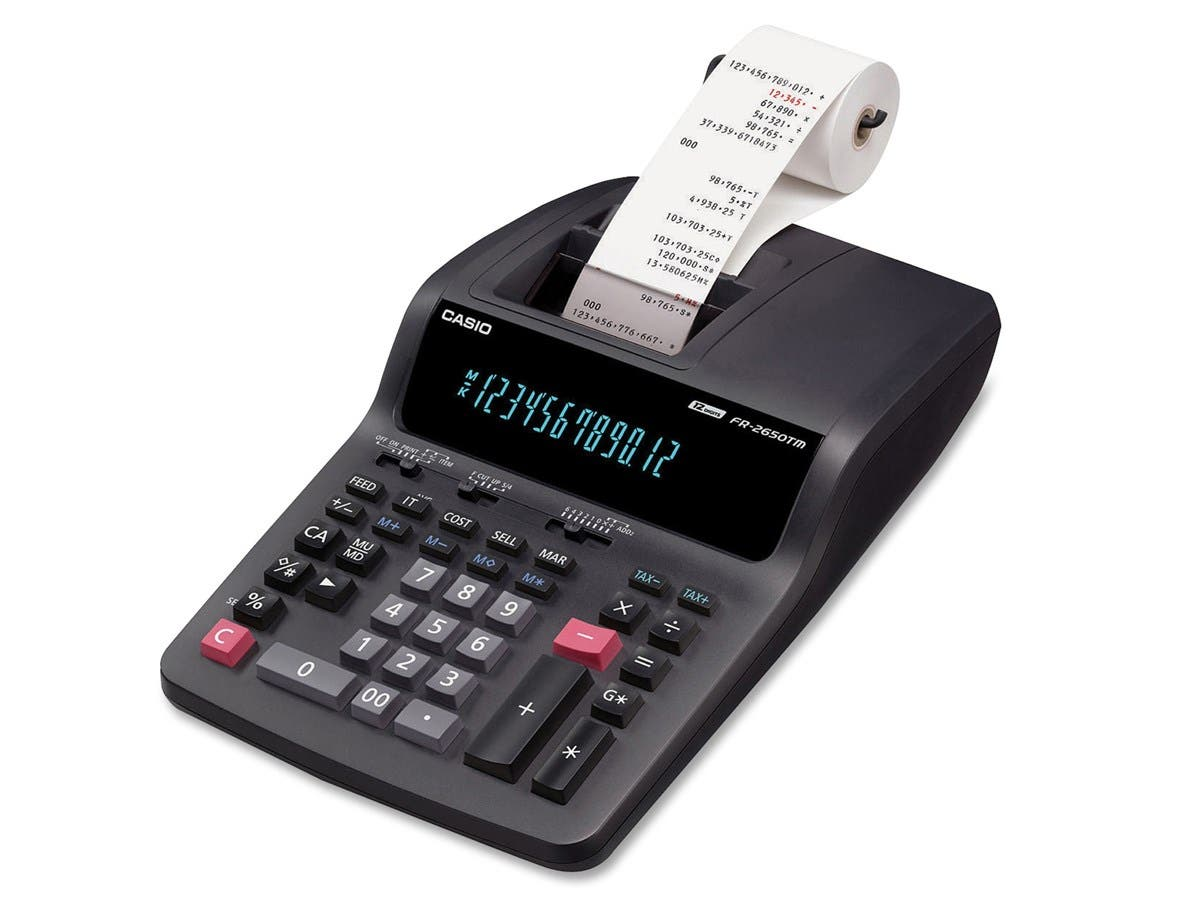 "Casio FR2650TM Printing Calculator - Dual Color Print - 3.5 lps - 12 Digits - AC Supply Powered - 4.3"" x 8.5"" x 15"" - 1 Each"