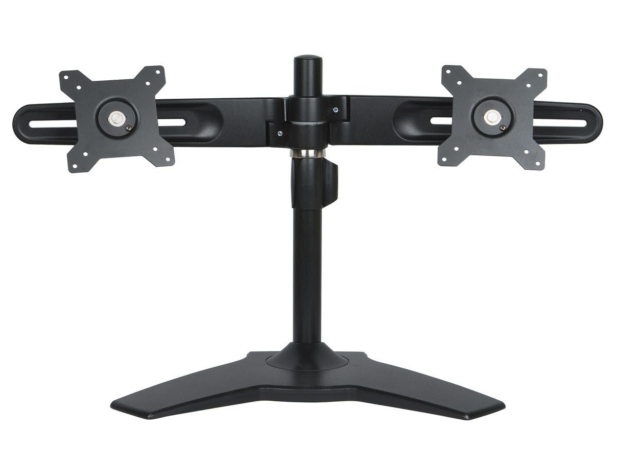 "Planar AS2 Black Dual Monitor Stand - Up to 66lb - Up to 24"" LCD Monitor - Black - Desk-mountable"