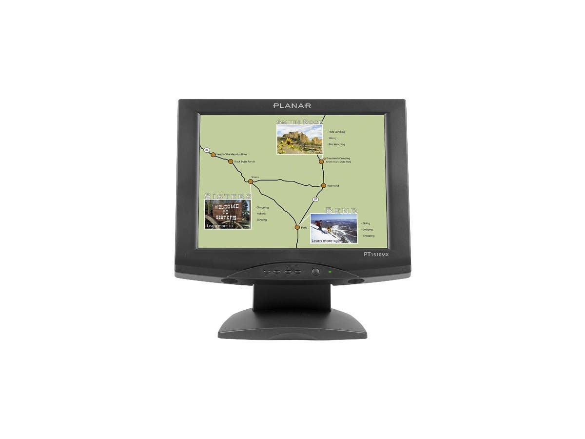 "Planar PT1510MX Touch Screen LCD Monitor - 15"" - 5-wire Resistive - 4:3 - Black-Large-Image-1"