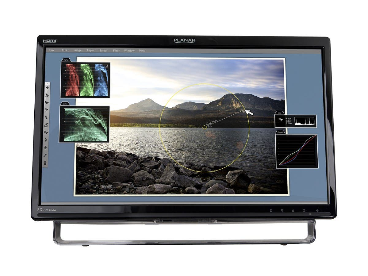 "Planar PXL2430MW 24"" LED LCD Touchscreen Monitor - 16:9 - 5 ms - Optical - Multi-touch Screen - 1920 x 1080 - Full HD - Adjustable Display Angle - 1,000:1 - 250 Nit-Large-Image-1"