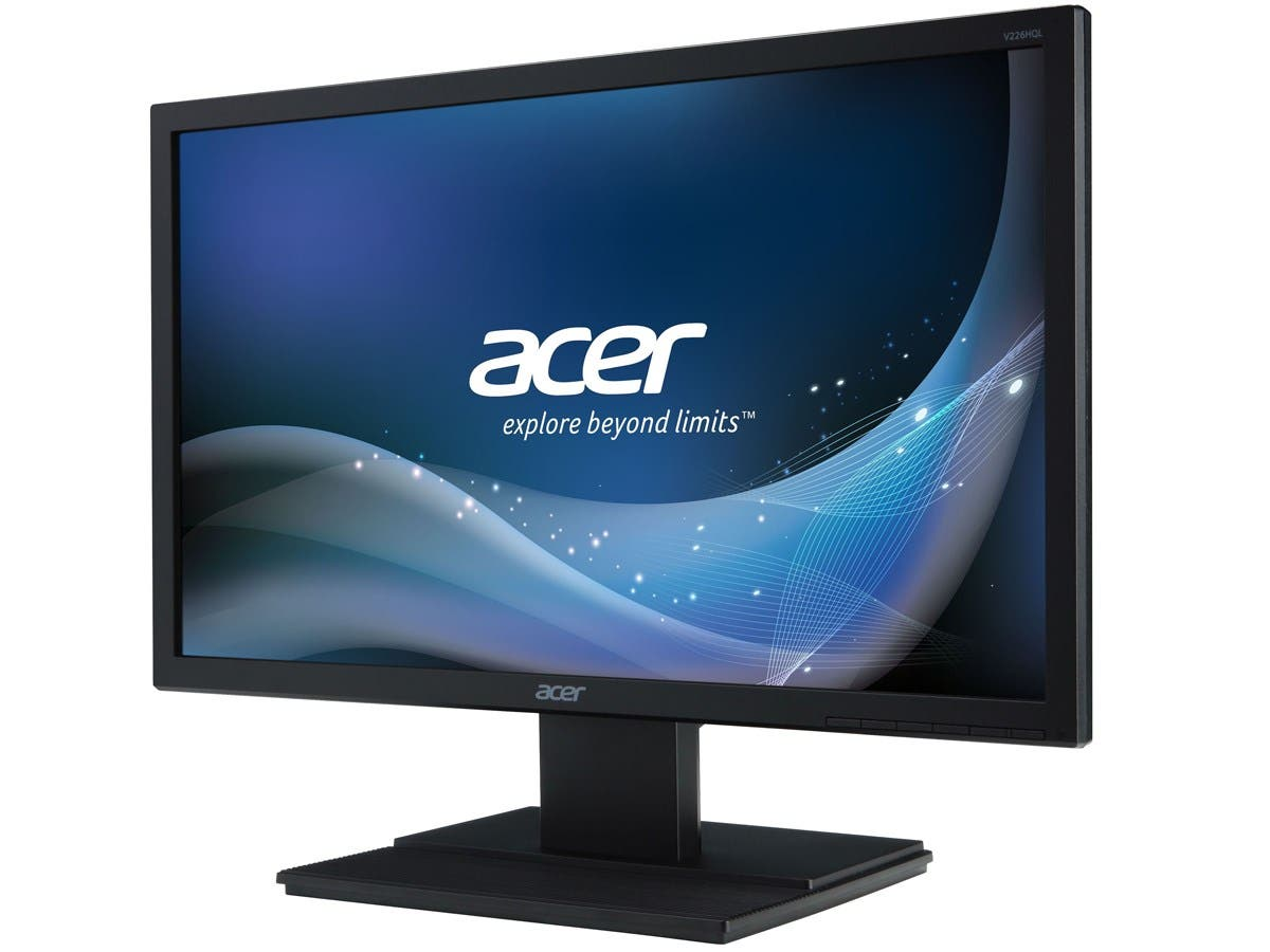 "Acer V226HQL 21.5"" LED LCD Monitor - 16:9 - 8 ms - 1920 x 1080- 250 Nit - 100,000,000:1 - Full HD - Speakers - DVI - VGA - DisplayPort - 19.50 W - Black - TCO '06, ENERGY STAR-Large-Image-1"