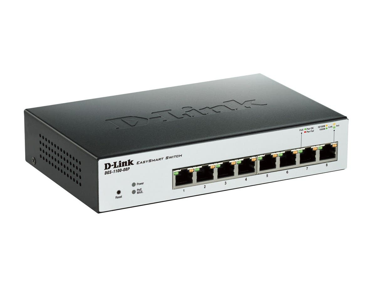 D-Link EasySmart 8-Port Gigabit PoE Switch - 8 Ports - Manageable - 10/100/1000Base-T - 8 x Network - Twisted Pair - Gigabit Ethernet - 2 Layer Supported - DesktopLifetime Limited Warranty-Large-Image-1