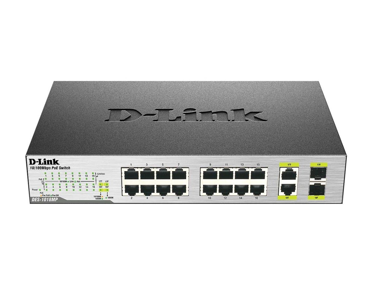 D-Link DES-1018MP 18Prt 10/100 Dsktp/Rckmnt PoE Switch
