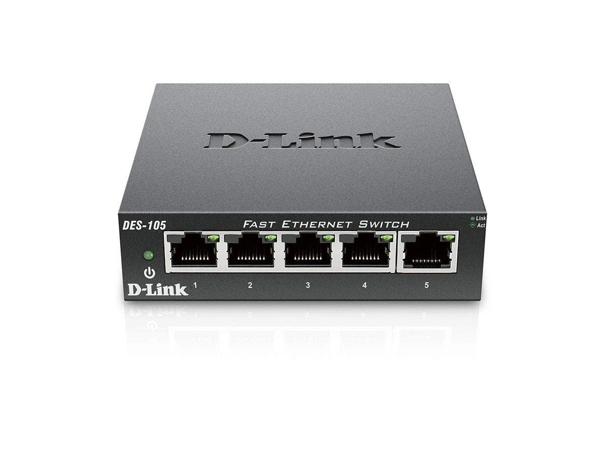 D-Link DES-105 5-Port 10/100 Unmanaged Metal Desktop Switch - 5-Port 10/100 Unmanaged Metal Desktop Switch-Large-Image-1